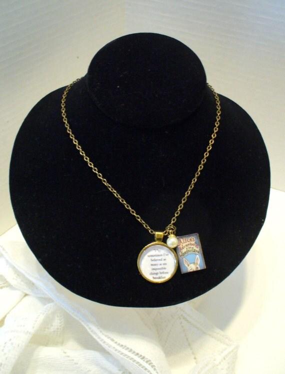 Book Nook Necklace, Alice in Wonderland, Alice Necklace, Book Necklace, Quote Necklace, Gold Chain, Pearl Necklace, Pendant, MarjorieMae