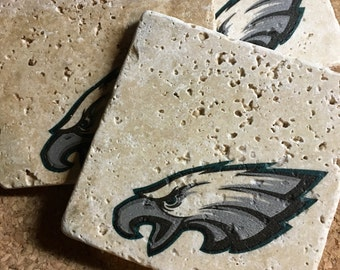 Philadelphia Eagles Coasters ~  Set of 4 Stone Coasters ~Coasters ~ Natural Stone Tile Coasters ~ Football Coasters ~