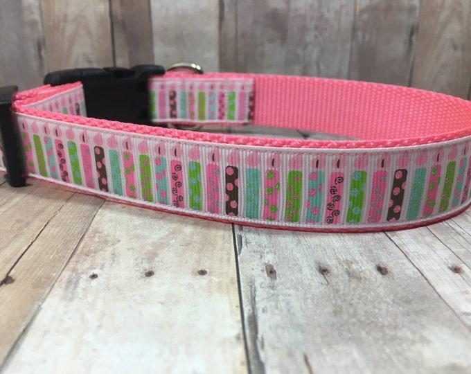 "The Make a Wish   Designer 1"" Width Dog Collar   CupcakePups Collars   Birthday Candles   Girly Birthday - Medium/Large Dog Collar"