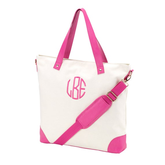 Monogrammed Tote Bag, Canvas Tote Bag, Hot Pink Shoulder Bag, Bridesmaids Gifts, Weddings, Monogrammed Gifts, Personalized Tote Bags