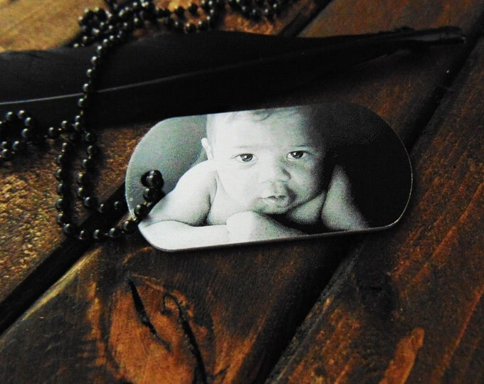 Engraved Picture Dog Tag - Handwriting Option -  Memorial Gift - Gift for Dad - Many Options- Christmas Gift