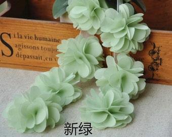 High Quality Green Flowers Lace Trim DIY Handmade Accessory 14pcs B0133