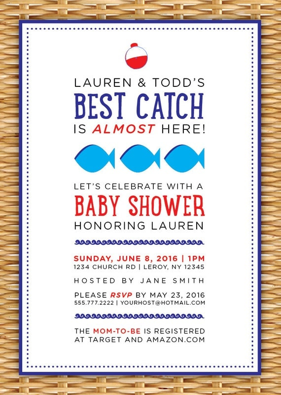 fishing themed baby shower invitation printable