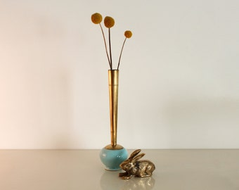 Brass and Ceramic Bud Vase