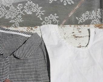 Vintage Plaid collar * + white jabot/Retro style/black and white diamond/Retro/1950 's/grandma's old-fashioned/clothing/Scene clothing