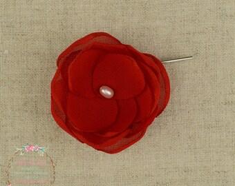 Red Bridemsaid - Red Wedding - Hair Flower - Bridesmaid Hair Flowers - Flower Girls - Hair Clip - Red Accessory - Flower Clips - Bridal Hair