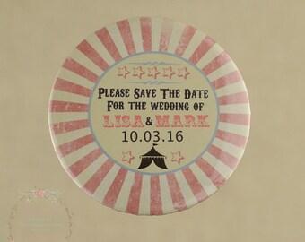 Carnival Wedding Save The Date Magnet - Vintage - Circus Wedding - Fete Wedding - Wedding Invitation - Wedding Magnets - Wedding Stationery