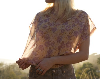 Vintage Floral Sheer Blouse