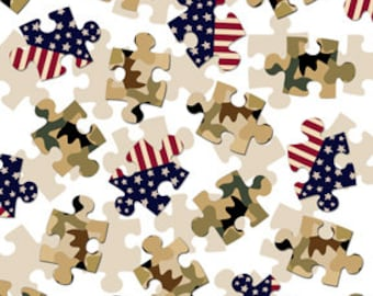 Love My Hero White Puzzle Pieces from Quilting Treasures by the yard