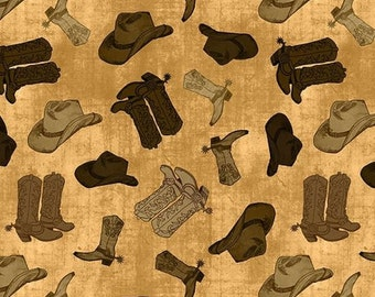 Ironwood Ranch Boots and Hats from Wilmington Prints by the yard