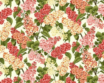 Botanica 3 Scarlet-Cream floral By the yard