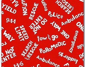 Zip Zoom Red Word Toss from Wilmington Prints By the yard