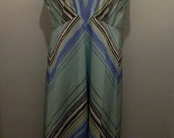 Vintage Green Striped Maxi Dress 1970s with Matching Shawl
