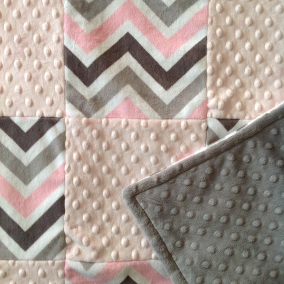 Sale shannon fabrics pink silver gray baby quilt minky for Nursery fabric sale