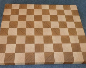 Checkered end-grain cutting board, maple and cherry