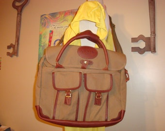 Khaki/Brown Canvas and Leather ORVIS Laptop Messenger Bag