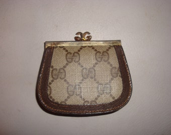 FINAL Clearance Brown Monogram w Leather Trim Gucci Coin Purse