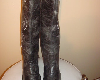 FINAL Clearance Gray Leather Corral Horseshoe Boots 6.5M