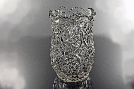 Antique EAPG Celery Vase, Westmoreland, Buzz Star Clear Pattern, Sawtooth Edge, Star and Fan, Silverware Holder, Flower Vase