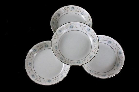 English Garden Platinum Bowls, Dessert Bowls, Fruit Bowls, Fine China, Japan, Set of 4