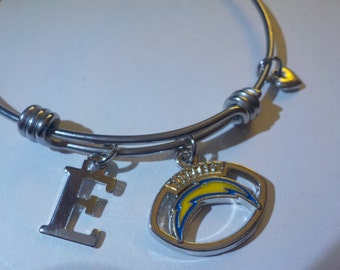 San Diego Chargers charm bracelet with the Chargers logo inside the outline of a football and free initial and small heart