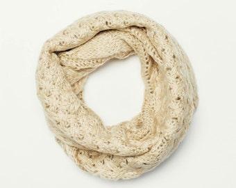 infinity snood scarf, cowl scarf, cream scarf, winter scarf, knitted scarf, wool infinity scarf