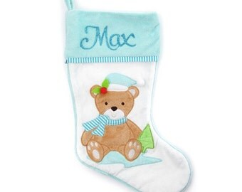 Personalised Baby Blue Teddy Bear Christmas Stocking