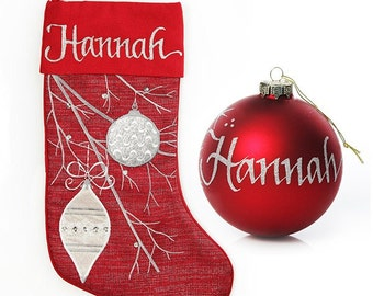 Personalised Red Bauble Stocking and Bauble Pack