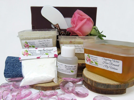 Natural Pink Rose Petal Scrub Sugaring Wax Deluxe Starter Kit