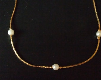vintage yellow gold pearl necklace