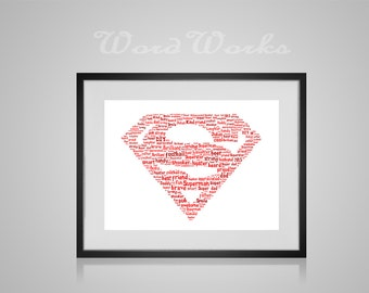 "Personalised Superman Word Art **Buy 3 prints get the 4th FREE**  Use coupon code "" MYFREEONE """