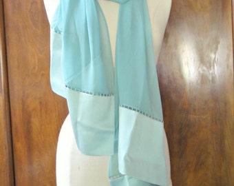 Gorgeous WORTH  Vintage Turquoise Blue Sheer Silk Chiffon Scarf Wrap Shawl