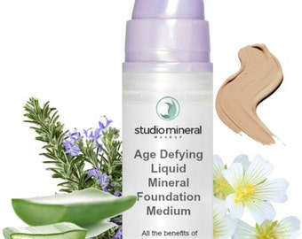 MEDIUM Age Defying Liquid Mineral Makeup Foundation - Vegan - All the benefits of mineral makeup in liquid form