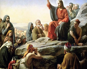 "Carl Bloch ""Sermon on the Mount"" 1877 Reproduction Digital Print Christianity Religion Jesus Christ"
