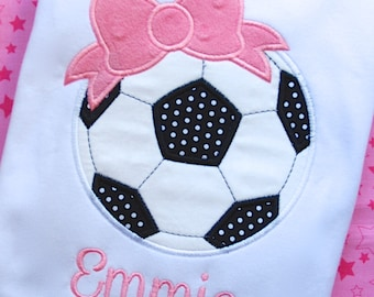 Soccer shirt, Love Soccer, Girls Soccer Shirt, Soccer Ball with Bow