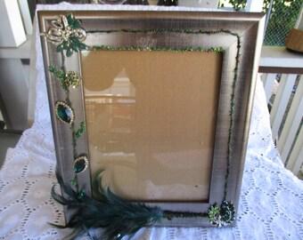Picture Frame Embellished Hunter Green Silver Desk Top