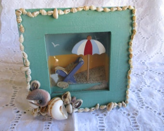 Embellished Picture Beach Sand Shells  Wall Hanging