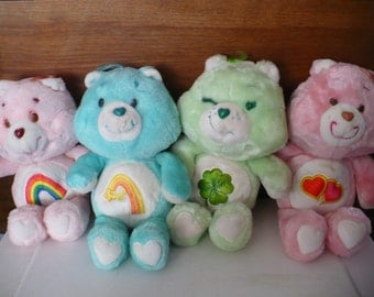 Vintage 1983 KENNER Care BEAR Plush Lot of 4 Good LUCK, Cheer Bear, Wish Bear