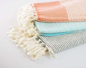 OPENING SALE 30% off Turkish Beach Towel Pestemal, Turkish Bath Towel, Turkish Hammam Peshtemal Fashion Blanket | TURQUOISE Color