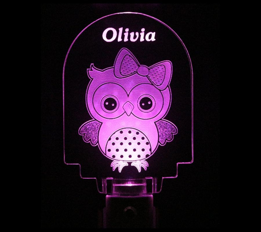 Owl Baby Girl Night Light Personalized