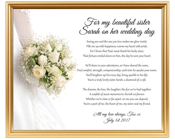 Wedding Gifts For Sister In Law: Wedding Gift Poem For Sister Sister Wedding Gift Gifts For