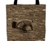 "Submerged Grizzly Bear All-Over Tote (15"" x 15"")"