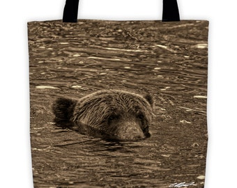 """Submerged Grizzly Bear All-Over Tote (15"""" x 15"""")"""