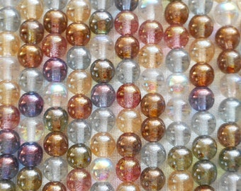 50 6mm Czech glass beads, druks, Transparent Multicolored Luster Mix , smooth round druk beads C2850
