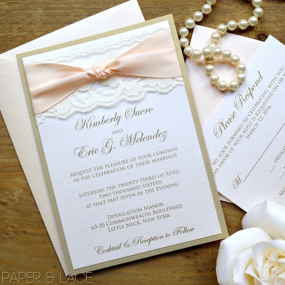 THE KNOT - Blush and Gold Wedding Invitation - Classic Lace Wedding Invitation - Ivory Lace with Pale Peach Ribbon