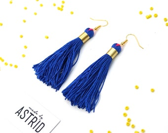 BLUES // Tassel Earrings, Bohemian Earrings, Royal Blue Earrings, Bohochic Earrings, Gift For Her