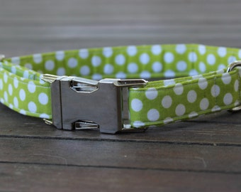 Lime Polka Dot Collar