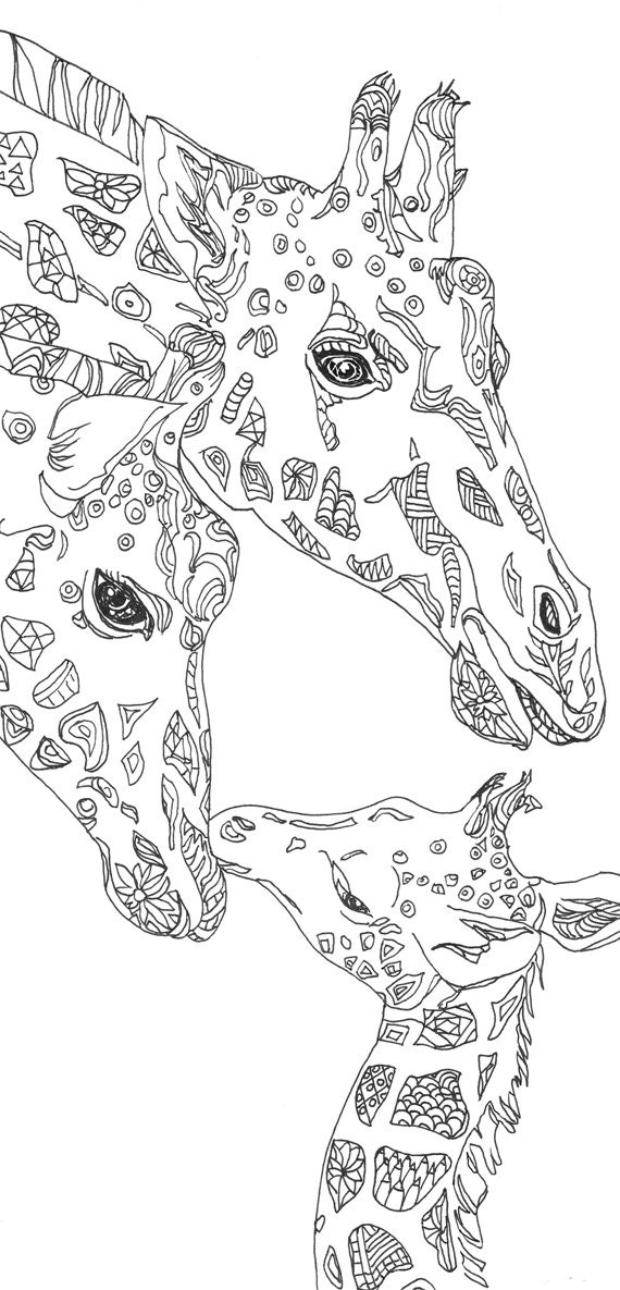 Coloring Pages Giraffe Printable Adult Coloring Book By