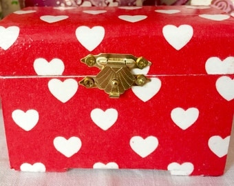 Decoupaged/Decopatched Jewellery/Trinket Box in Cath Kidston Mini Hearts Paper