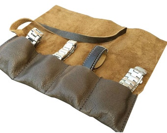 Distressed Brown Leather Watch Pouch Roll Holds 4 …